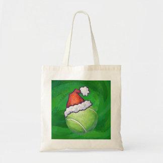 Bolsa Tote Verde do Natal da bola de tênis