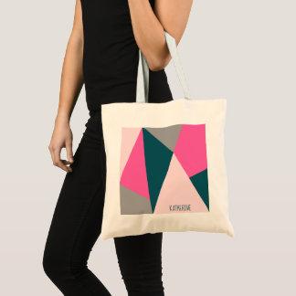 Bolsa Tote Verde esmeralda pastel geométrico elegante de rosa
