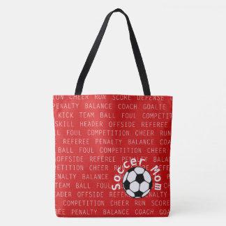 Bolsa Tote Vermelho da mamã do futebol sobre todo o saco do