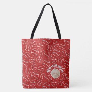 Bolsa Tote Vermelho do basebol sobre todo o saco do impressão