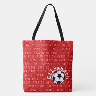 Bolsa Tote Vermelho do futebol sobre todo o saco do impressão