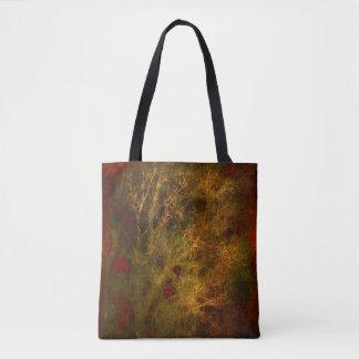 Bolsa Tote Vermelho e abstrato dos ramos de árvore do ouro