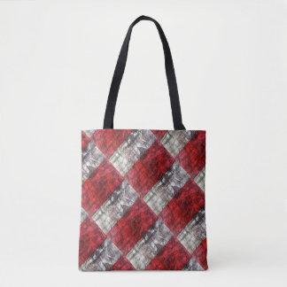 Bolsa Tote Vermelho e teste padrão retro Textured cinzas dos