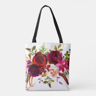Bolsa Tote Vermelho floral boémio de Borgonha Marsala da