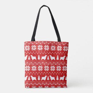 Bolsa Tote Vermelho inglês do teste padrão do Natal dos