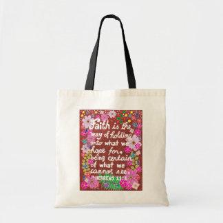 Bolsa Tote Verso floral colorido bonito da bíblia da fé