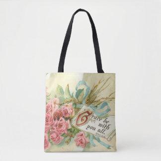 Bolsa Tote Verso floral da escritura dos rosas do vintage