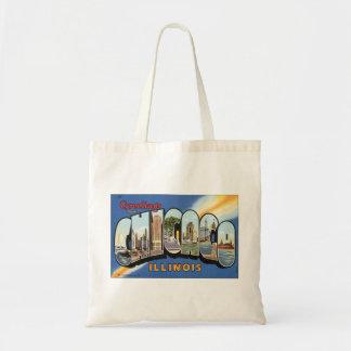Bolsa Tote Viagens vintage, cumprimentos de Chicago Illinois