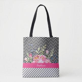 Bolsa Tote Vigas preto e branco florais cor-de-rosa chiques e