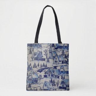 Bolsa Tote Vila azul/branca do inverno velho do Feliz Natal