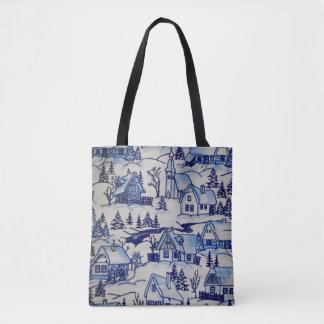 Bolsa Tote Vila azul/branca do vintage bonito do Natal do