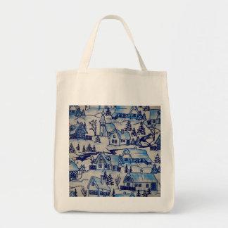 Bolsa Tote Vila azul do feriado do Natal do vintage