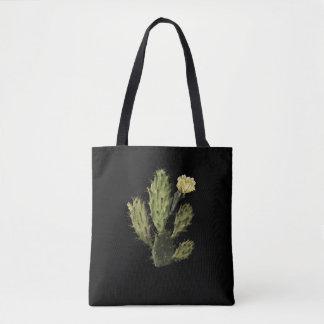 Bolsa Tote Vintage da flor do cacto que tira a sacola preta