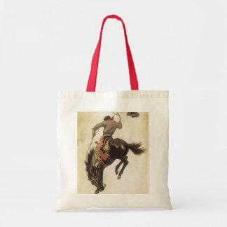 Bolsa Tote Vintage ocidental, vaqueiro em um cavalo Bucking
