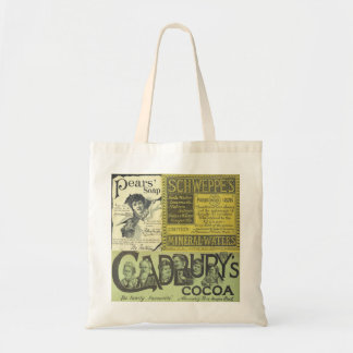 Bolsa Tote Vintage que anuncia a sacola de Cadbury Schweppes