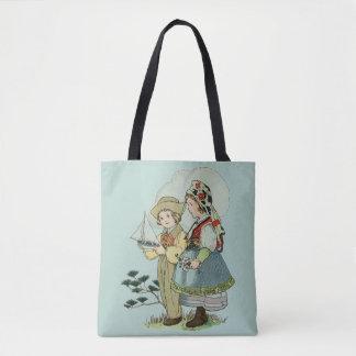 Bolsa Tote Vintage/sacola bretão francesa retro das crianças