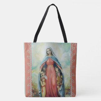 Bolsa Tote Virgem Maria abençoada com crianças