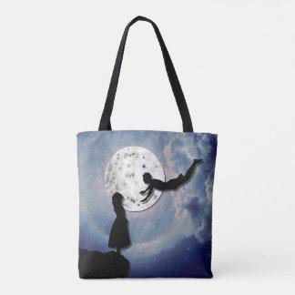 Bolsa Tote voe-me ao universo do corte do papel da lua