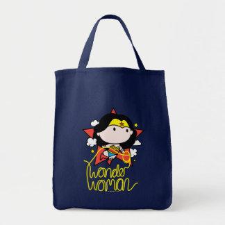 Bolsa Tote Vôo da mulher maravilha de Chibi com laço