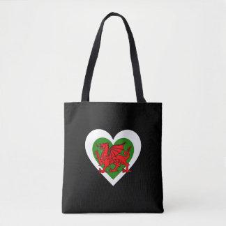 Bolsa Tote Wales/coração de Galês bandeira-inspirou a sacola
