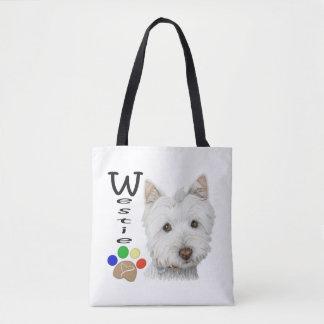 Bolsa Tote Westie persegue a arte por todo o lado na sacola