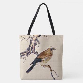 Bolsa Tote Woodcut japonês de um passarinho, de um Brown e de