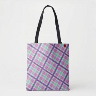 Bolsa Tote Xadrez cor-de-rosa e roxa com senhora Desinsetar