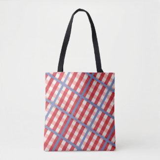 Bolsa Tote Xadrez vermelha, branca e azul