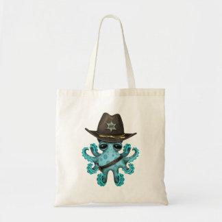 Bolsa Tote Xerife bonito do polvo do bebê azul