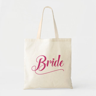 Bolsa Tote Yarrow cor-de-rosa caligráfico da noiva