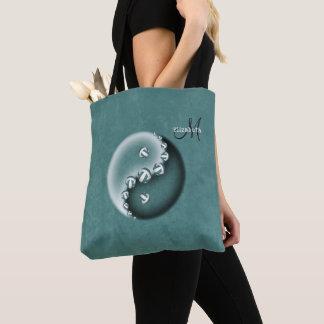 Bolsa Tote yin da cerceta e mulheres monogrammed do voleibol
