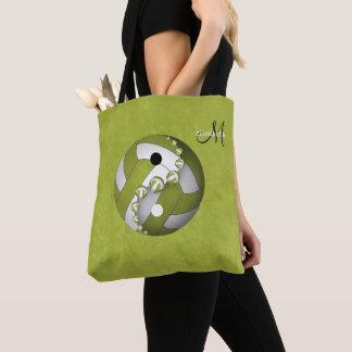 Bolsa Tote yin do limão e mulheres monogrammed do voleibol de