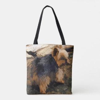 Bolsa Tote Yorkie pequeno bonito   - cão do yorkshire terrier