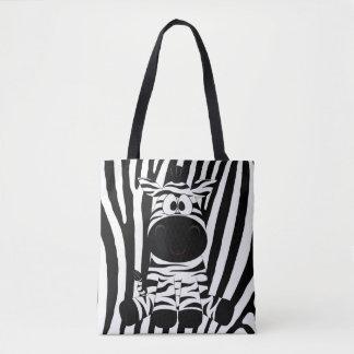 Bolsa Tote Zebra do bebê com alinhador longitudinal preto e