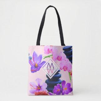Bolsa Tote Zen das flores do açafrão e da orquídea do