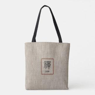 Bolsa Tote Zen no quadro de couro no impressão de