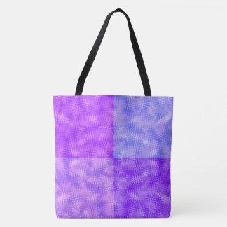 Bolsa Tote Ziguezague e teste padrão azuis roxos das bolhas