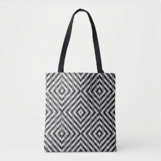 Bolsa Tote Ziguezague preto e branco