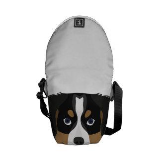Bolsas Mensageiro Cão de montanha de Bernese da ilustração