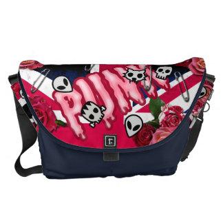 Bolsas Mensageiro Emojis cor-de-rosa de Union Jack dos rosas do punk