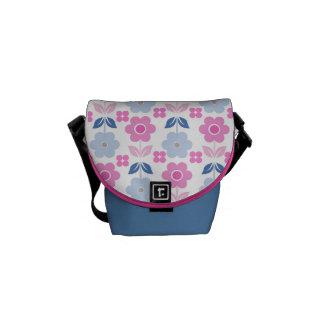Bolsas Mensageiro Flores cor-de-rosa/azuis retros