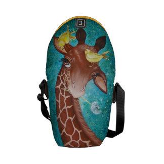 Bolsas Mensageiro Girafa bonito com pássaros