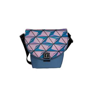 Bolsas Mensageiro Rosa e teste padrão geométrico azul