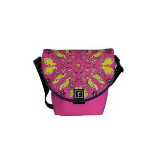 Bolsas Mensageiro Simetria bonito colorida do rosa do gato do cão