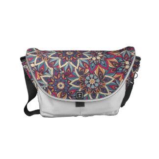 Bolsas Mensageiro Teste padrão floral étnico abstrato colorido da