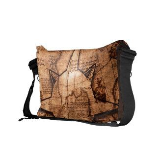 Bolsas Mensageiro Viajante de mundo antigo - rosa do mapa & de