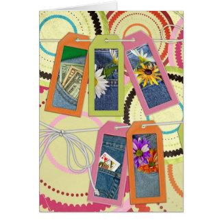bolsos azuis de brim cartão comemorativo