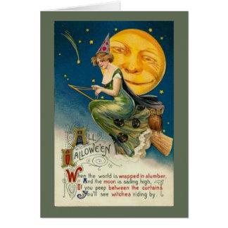 Bom cartão do Dia das Bruxas da equitação da bruxa