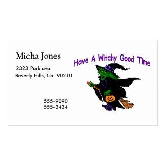 Bom tempo o Dia das Bruxas de Witchy Modelos Cartoes De Visita