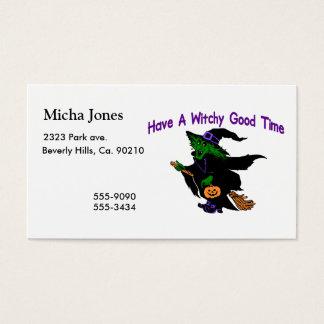 Bom tempo o Dia das Bruxas de Witchy Cartão De Visitas